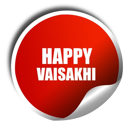 sikhism: happy vaisakhi, 3D rendering, red sticker with white text