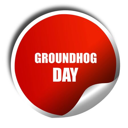 forecaster: groundhog day, 3D rendering, red sticker with white text Stock Photo