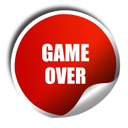 unsuccess: game over, 3D rendering, red sticker with white text