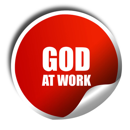 god 3d: god at work, 3D rendering, red sticker with white text