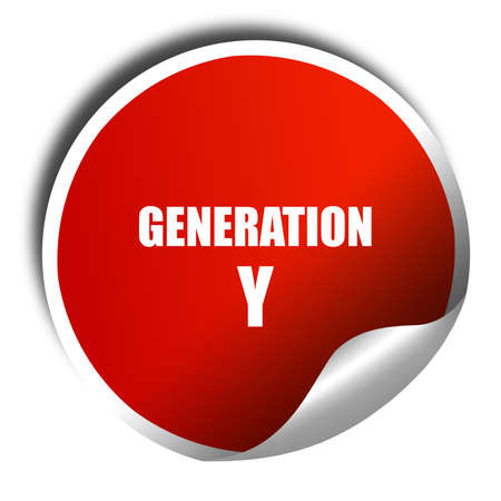 generation y: generation y word, 3D rendering, red sticker with white text