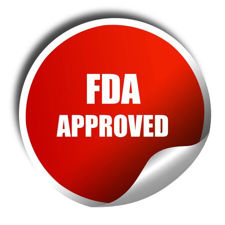 fda: FDA approved background with some smooth lines, 3D rendering, red sticker with white text