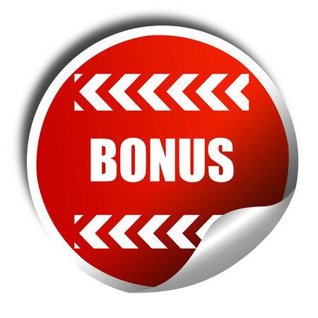 freebie: Bonus sign with smooth lines and soft highlights, 3D rendering, red sticker with white text Stock Photo