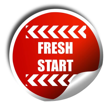 reformation: Fresh start sign with some smooth lines and highlights, 3D rendering, red sticker with white text Stock Photo
