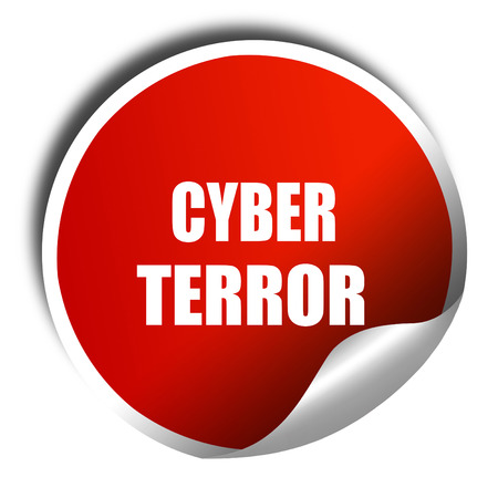 cyber terrorism: Cyber terror background with some smooth lines, 3D rendering, red sticker with white text