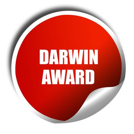 elimination: darwin award, 3D rendering, red sticker with white text