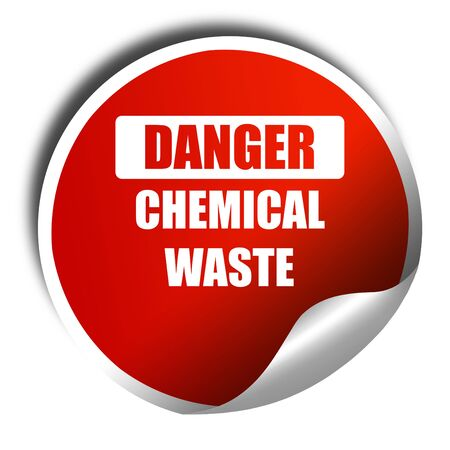 waste prevention: Chemical waste sign with some smooth lines, 3D rendering, red sticker with white text Stock Photo