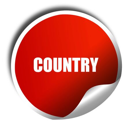 bluegrass: country music, 3D rendering, red sticker with white text