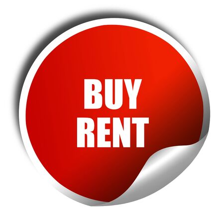 buying questions: buy rent, 3D rendering, red sticker with white text