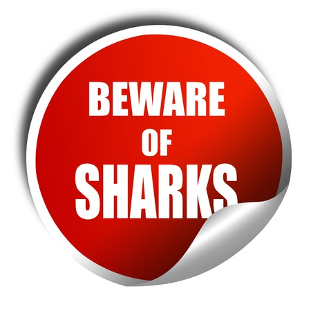 sighting: Beware of sharks sign with some smooth lines, 3D rendering, red sticker with white text