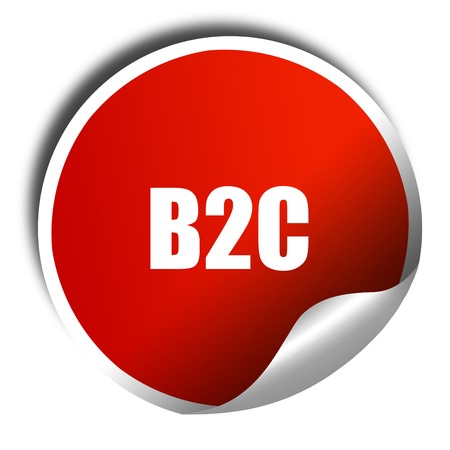 b2c: b2c, 3D rendering, red sticker with white text