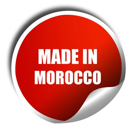 made in morocco: Made in morocco, 3D rendering, red sticker with white text Stock Photo