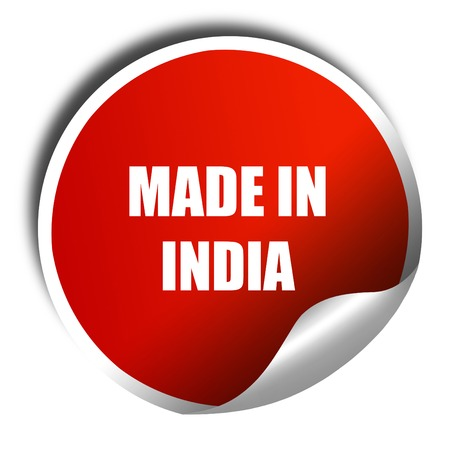 india 3d: Made in india, 3D rendering, red sticker with white text