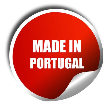 made in portugal: Made in portugal es, 3D rendering, red sticker with white text Stock Photo