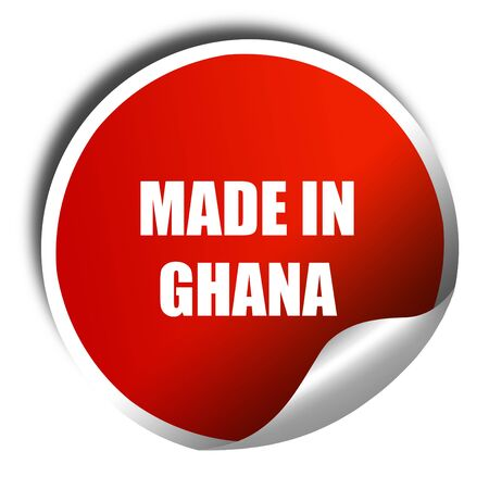 ghanese: Made in ghana mooth lines, 3D rendering, red sticker with white text