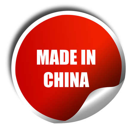 made in china: Made in china t smooth lines, 3D rendering, red sticker with white text