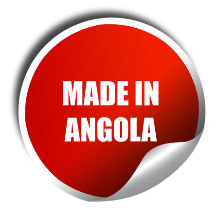 oft: Made in angola oft smooth lines, 3D rendering, red sticker with white text