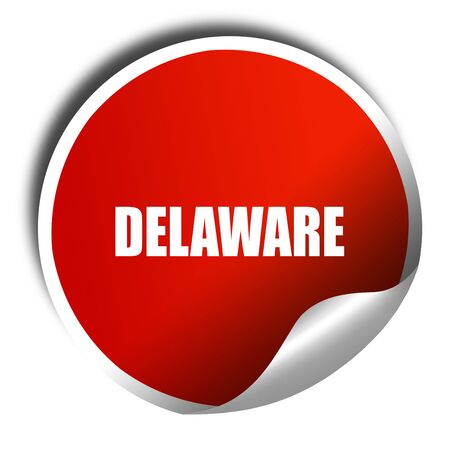delaware: delaware, 3D rendering, red sticker with white text