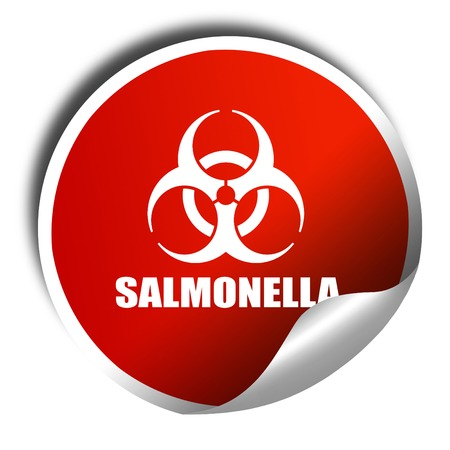 salmonella: Salmonella concept background, 3D rendering, red sticker with white text Stock Photo