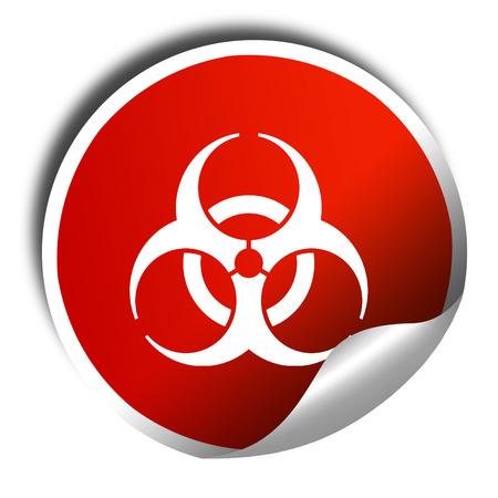bio hazard: Bio hazard sign on a grunge background, 3D rendering, red sticker with white text
