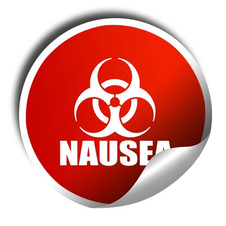 nausea: Nausea concept background, 3D rendering, red sticker with white text Stock Photo