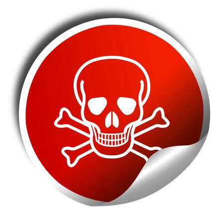 poison sign: Poison sign background with some soft scratches and dents, 3D rendering, red sticker with white text