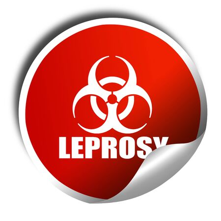 lepra: Leprosy concept background, 3D rendering, red sticker with white text