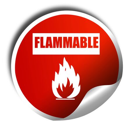 flammable: Flammable hazard sign with yellow and black colors, 3D rendering, red sticker with white text Stock Photo