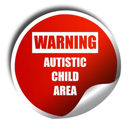 autistic: Autistic child sign with orange and black colors, 3D rendering, red sticker with white text