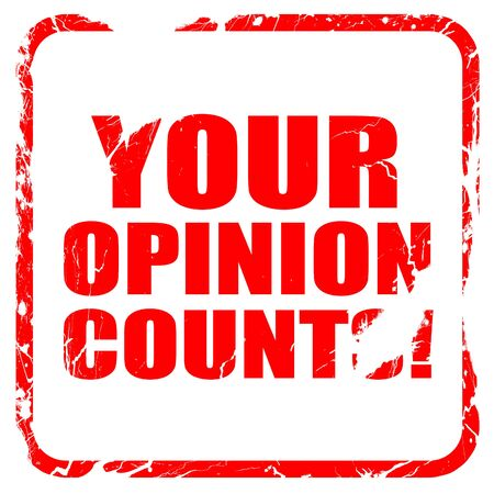 solicitation: your opinion counts, red rubber stamp with grunge edges