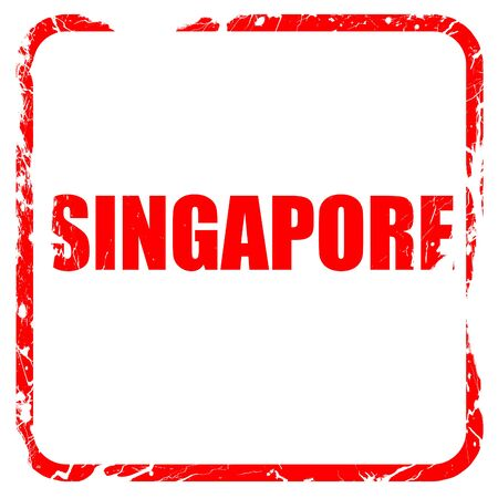 isolation backdrop: singapore, red rubber stamp with grunge edges