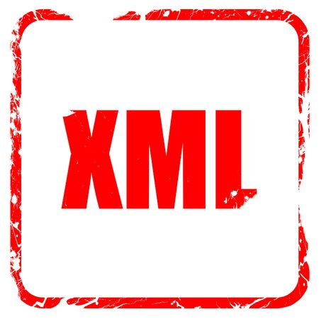 xml: xml, red rubber stamp with grunge edges Stock Photo
