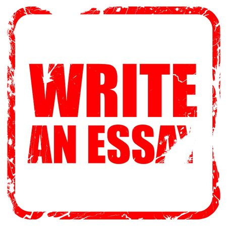 essay: write an essay, red rubber stamp with grunge edges