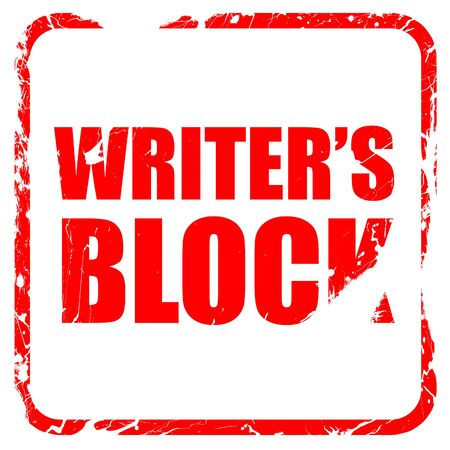 writer's block: writers block, red rubber stamp with grunge edges