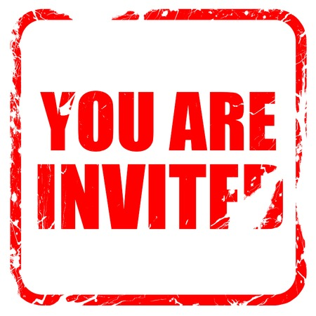 invited: you are invited, red rubber stamp with grunge edges
