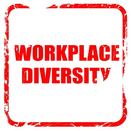 competitividad: workplace diversity, red rubber stamp with grunge edges