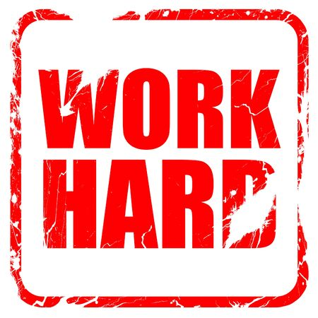 careerist: work hard, red rubber stamp with grunge edges Stock Photo