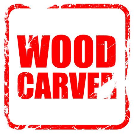 trinchante: tallador de madera, sello de goma de color rojo con bordes grunge
