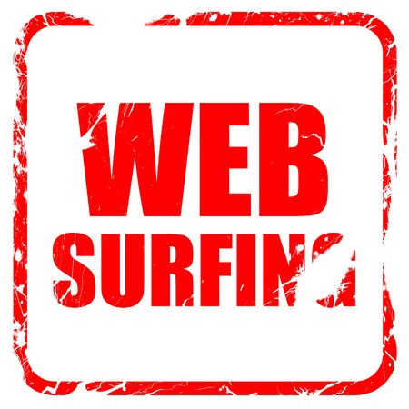 web surfing: web surfing, red rubber stamp with grunge edges