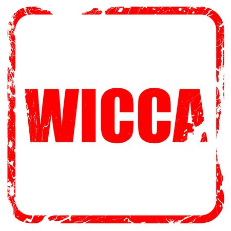 wicca: wicca, red rubber stamp with grunge edges Stock Photo