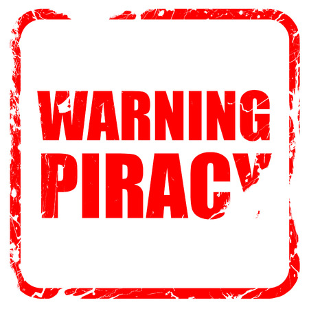 piracy: warning piracy, red rubber stamp with grunge edges Stock Photo