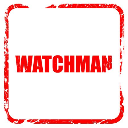 a watchman: watchman, red rubber stamp with grunge edges Stock Photo