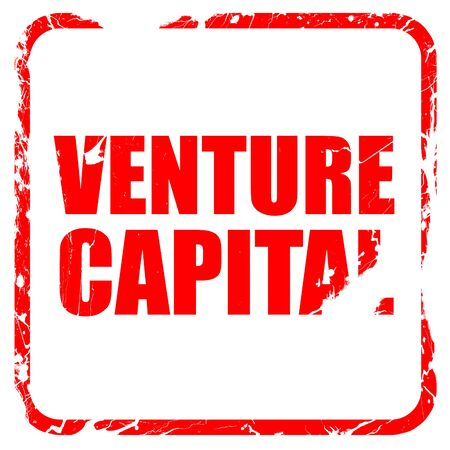 venture: venture capital, red rubber stamp with grunge edges