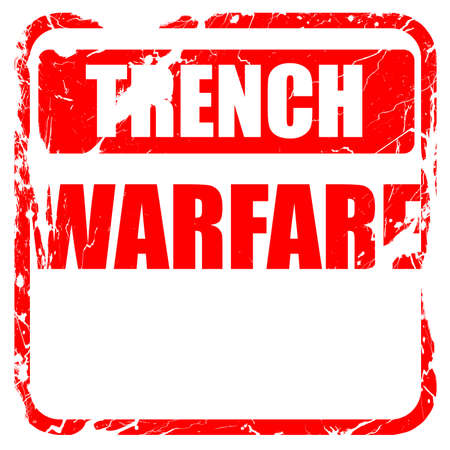 trench: trench warfare sign with some soft lines, red rubber stamp with grunge edges