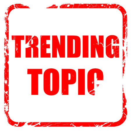 topic: trending topic, red rubber stamp with grunge edges