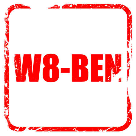 taxpayers: w8-ben, red rubber stamp with grunge edges