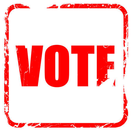 balloting: vote, red rubber stamp with grunge edges