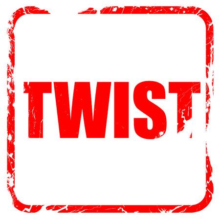 counterculture: twist dance, red rubber stamp with grunge edges