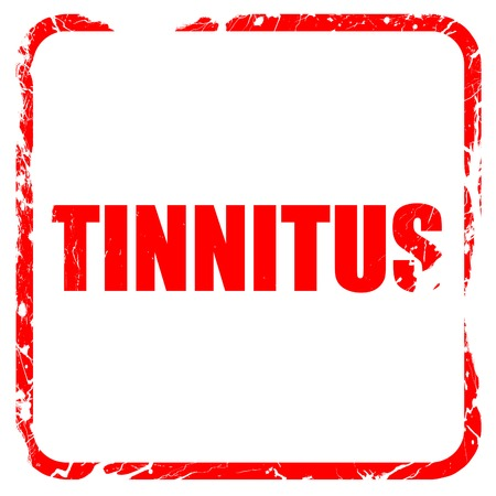 noise isolation: tinnitus, red rubber stamp with grunge edges Stock Photo