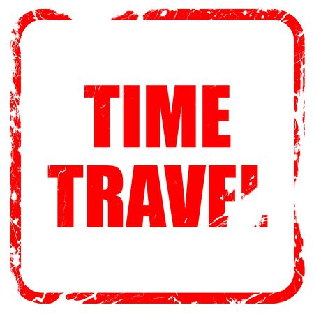 time travel: time travel, red rubber stamp with grunge edges Stock Photo